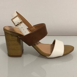LULUS Colourblock Brown & White Sandal Heels